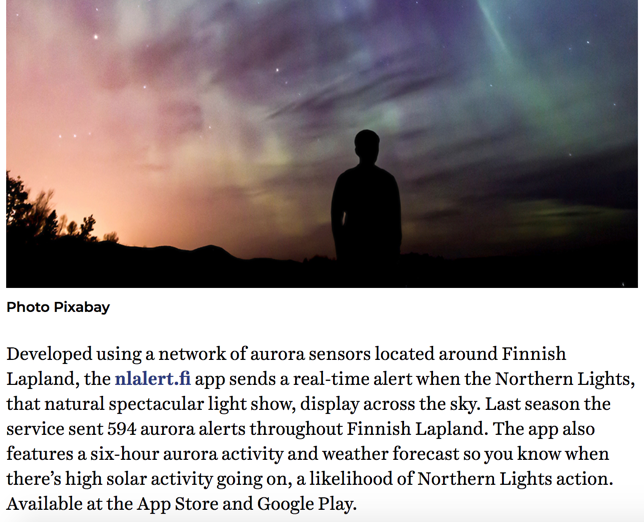 Northern Lights Article in finnair blue wings online magazine