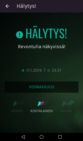 App screenshot finnish front view